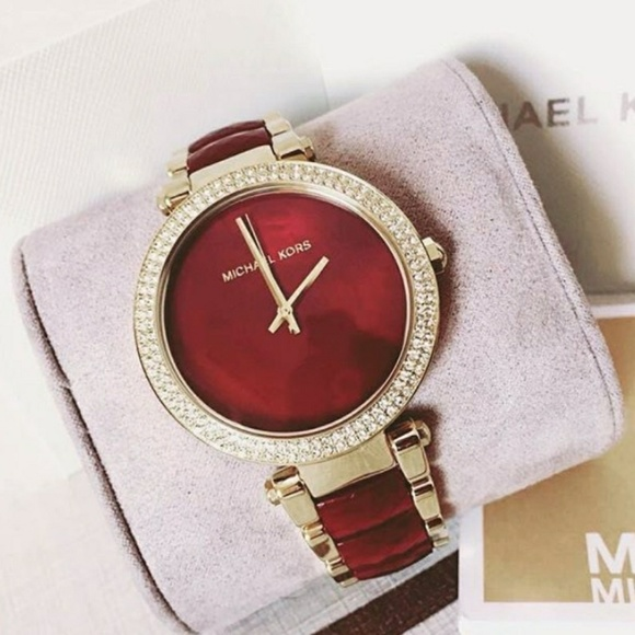 902c8afccd95 Brand new Michael Kors red and gold ladies watch